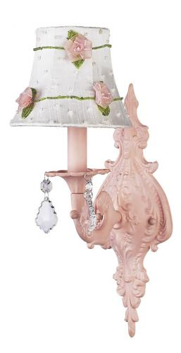 Pink Scroll Wall Sconce shown with Pink Flower Shade by Jubilee