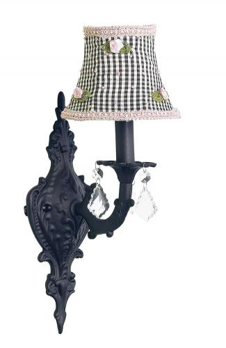 Black Scroll Wall Sconce shown with Black Check Shade by Jubilee