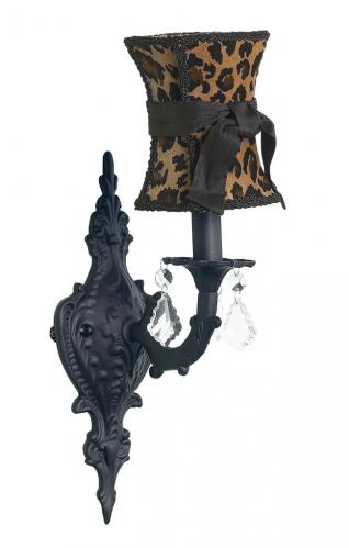 Black Scroll Wall Sconce shown with Cheetah Shade by Jubilee