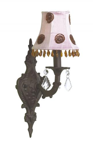Mocha Scroll Wall Sconce shown with Pink/Brown Swirl Shade by Jubilee