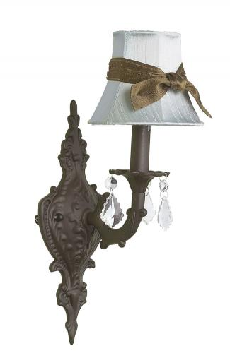 Mocha Scroll Wall Sconce shown with Solid Blue Shade by Jubilee