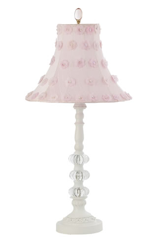 Medium white 3 glass ball table lamp with pink petal flower shade by jubilee