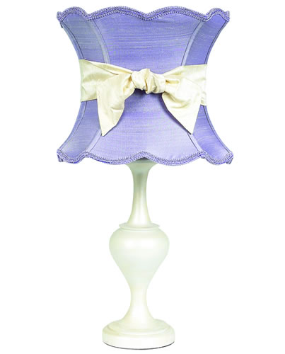 Large Pearlized Table Lamp With Lavender Shade And Ivory