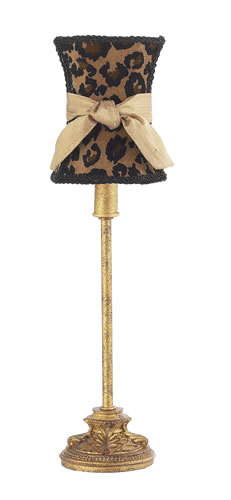 Small Antique Gold Table Lamp with Cheetah Shade by Jubilee