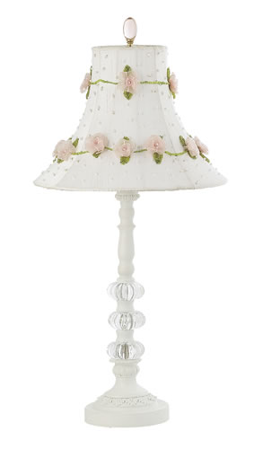 Medium White 3 Glass Ball Table Lamp with Rose on Vine Shade by Jubilee