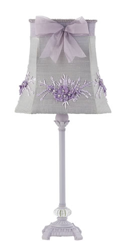 Medium Lavender Glass Ball Table Lamp with Lavender Floral Shade by Jubilee