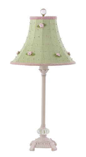 Medium Pink Glass Ball Table Lamp with Green Check Shade by Jubilee