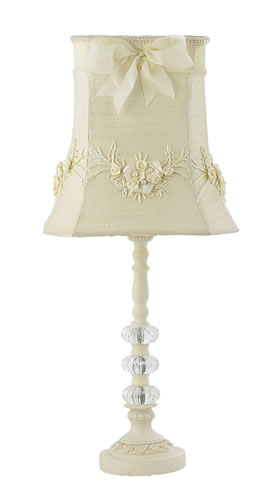 Medium Ivory 3 Glass Ball Table Lamp with Ivory Floral Shade by Jubilee