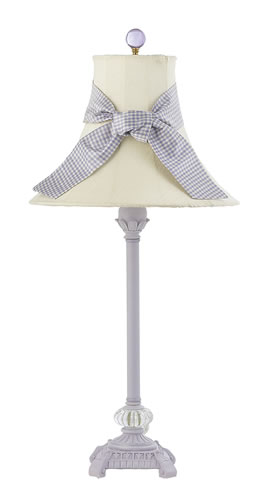 Medium Lavender Glass Ball Table Lamp with Ivory Shade and Lavender Sash by Jubilee