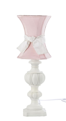Large White Urn Table Lamp with Pink Hourglass Shade by Jubilee