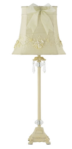 Large Ivory Crystal Dangle Table Lamp with Ivory Floral Shade by Jubilee
