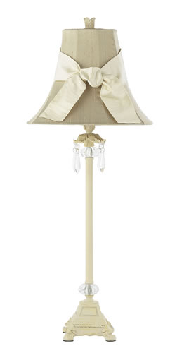 Large Ivory Dangle Table Lamp with Taupe Shade by Jubilee