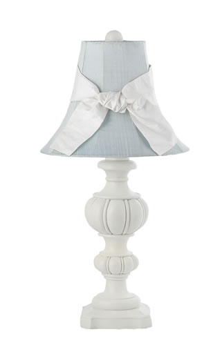 Large White Urn Table Lamp with Blue Shade by Jubilee