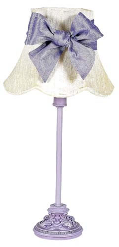 Small Lavender Table Lamp with Ivory Shade & Lavender Bow by Jubilee