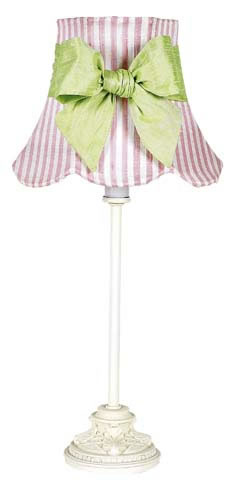 Small White Table Lamp with Pink Striped Shade & Green Sash by Jubilee