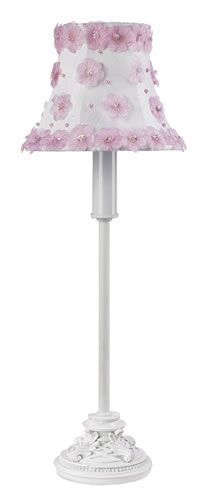 Small White Table Lamp with Pink Floral Shade by Jubilee