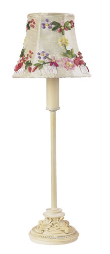 Small Ivory Table Lamp with Floral Shade by Jubilee