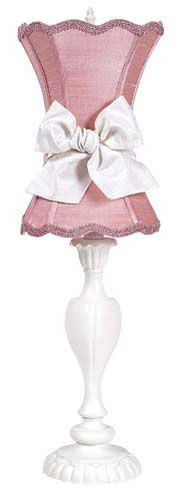 Large White Table Lamp with Pink Shade and White Sash by Jubilee