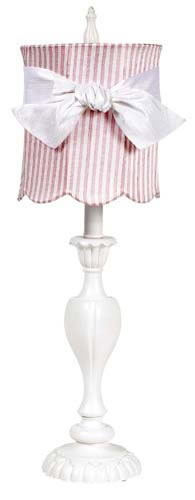 Large White Table Lamp with Pink Striped Shade and White Sash by Jubilee