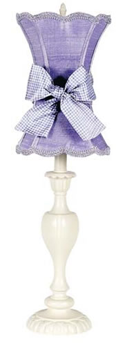 Large Ivory Table Lamp with Lavender Shade & Check Sash