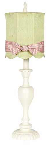 Large Ivory Table Lamp with Green Shade and Pink Check Sash by Jubilee