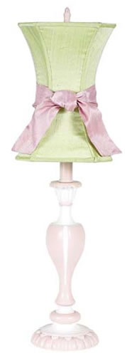 Large Pink Table Lamp with Green Shade and Pink Sash by Jubilee