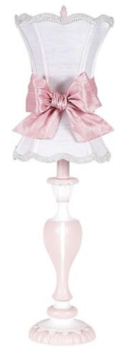 Large Pink Table Lamp with White Shade and Pink Sash by Jubilee