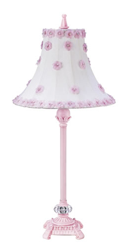 Medium Pink Table Lamp with Pink Floral Shade by Jubilee