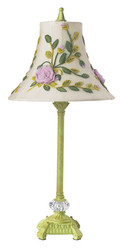 Medium Pistachio Table Lamp with Floral Shade by Jubilee