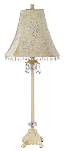 Large Ivory Glass Ball Table Lamp with Ivory Pearl Shade by Jubilee