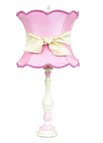 Large Pink/White Table Lamp with Pink Shade and Ivory Sash by Jubilee