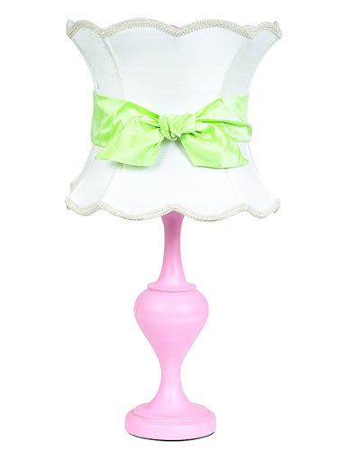 Large Pink Table Lamp with White Shade and Green Sash by Jubilee