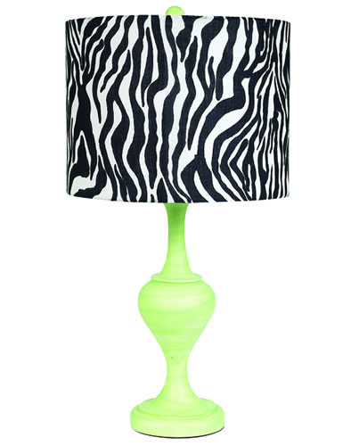 Large Modern Green Table Lamp with Zebra Shade by Jubilee