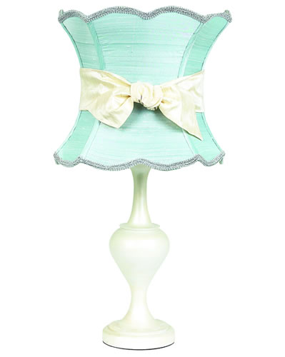 Large Pearlized Table Lamp with Ice Blue Shade and Ivory Sash by Jubilee