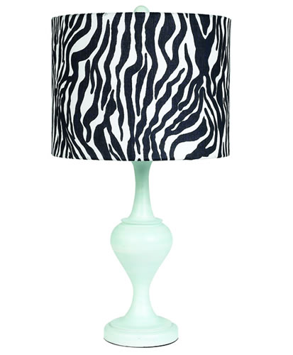 Large Blue Table Lamp with Zebra Shade by Jubilee