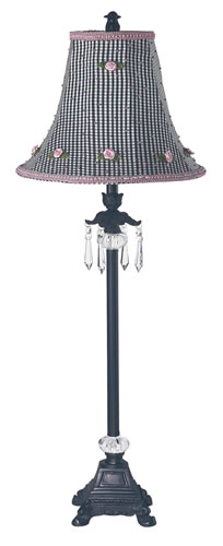 Large Black Table Lamp with Black Check Shade by Jubilee