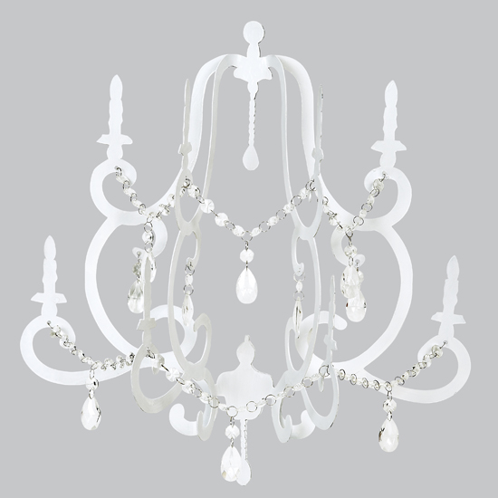 Hanging Wall Chandelier With Crystals White Non Electric