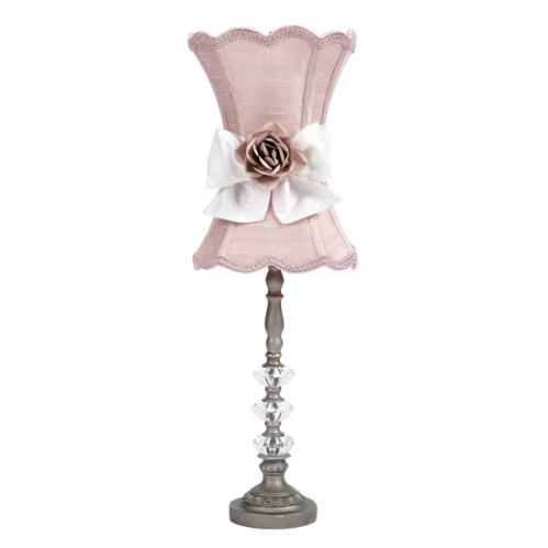 Pewter Medium 3 Glass Ball Lamp with Pink Shade, White Sash and Lt Pink Rose Magnet