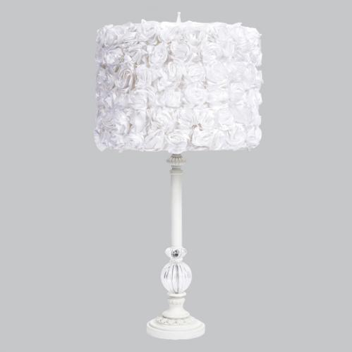 White Large Glass Ball Lamp with White Rose Garden Drum Shade