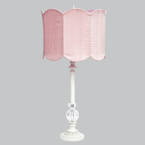 White Large Glass Ball Lamp with Pink Double Scalloped Drum Shade