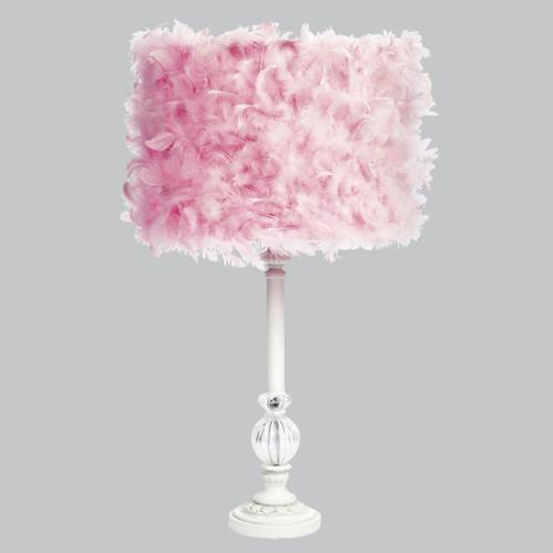 White Large Glass Ball Lamp with Pink Feather Drum Shade