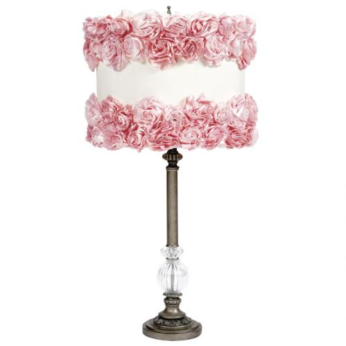 Pewter Large Glass Ball Lamp with Off White Shade with Pink Rose Garden