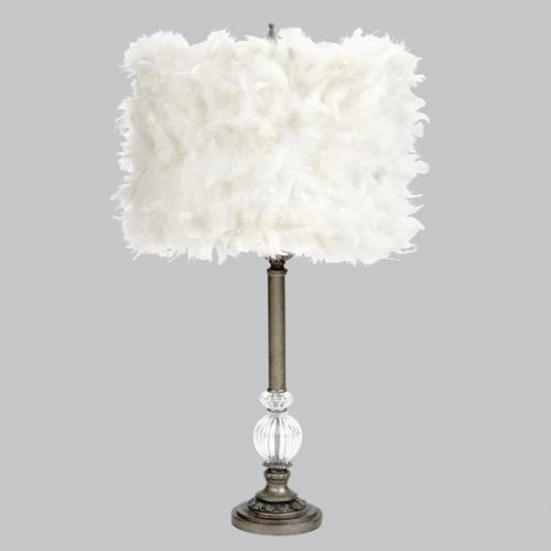 Pewter Large Glass Ball Lamp with White Feather Drum Shade