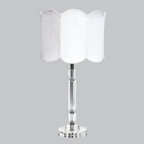 Crystal Slender Lamp with White Double Scalloped Drum Shade