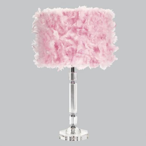 Crystal Slender Lamp with Pink Feather Drum Shade