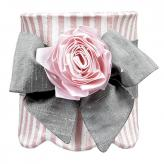 Pink & White Striped Scallop Drum Shade with Medium Pewter Sash & Pink Ribbon Magnet