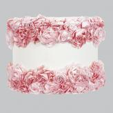 Large Shade - Drum - Off White with Pink Rose Garden