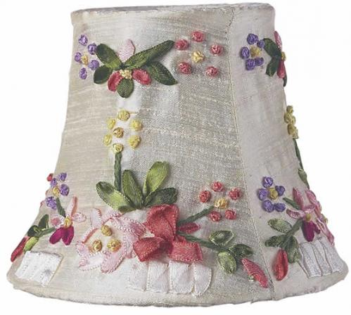 Ivory Ribbon Embroidery Chandelier Shade