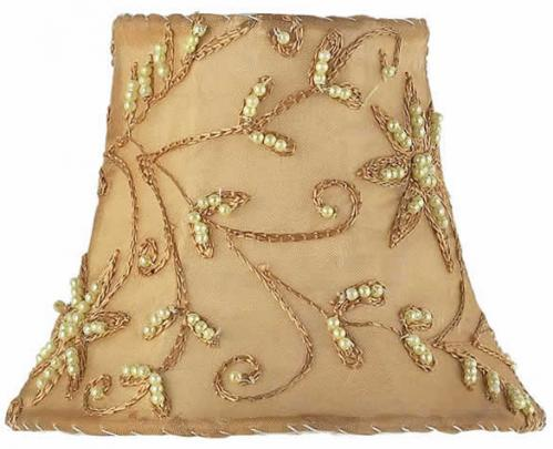 Taupe w/ Gold Pearl Embroidery Chandelier Shade