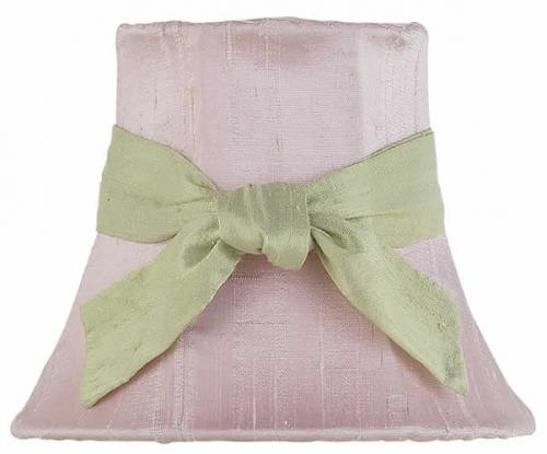Solid Pink Chandelier Shade with Green Sash